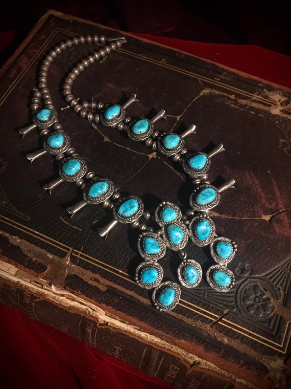 Sterling Silver Squash Blossom Necklace, Turquoise
