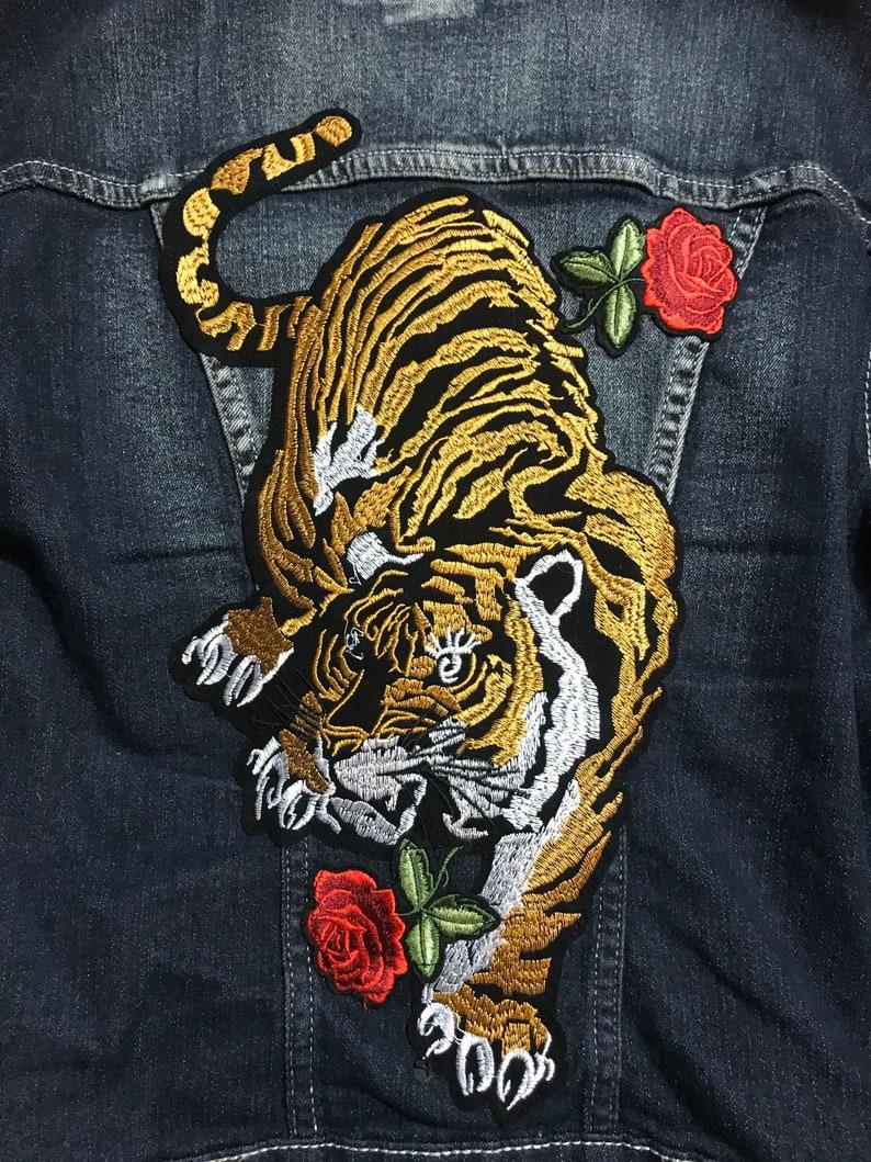 Denim Jacket Denim Jacket with Tiger Patch Patch Jacket Back Patch Jacket Patch Denim Jacket Custom Denim Jacket