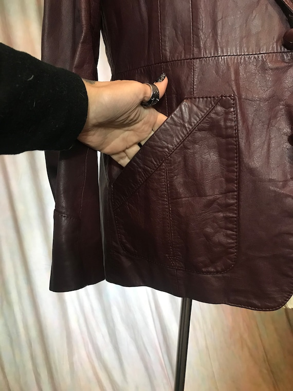 Mens Vintage Brown Leather Jacket, Size 40 Mens L… - image 9