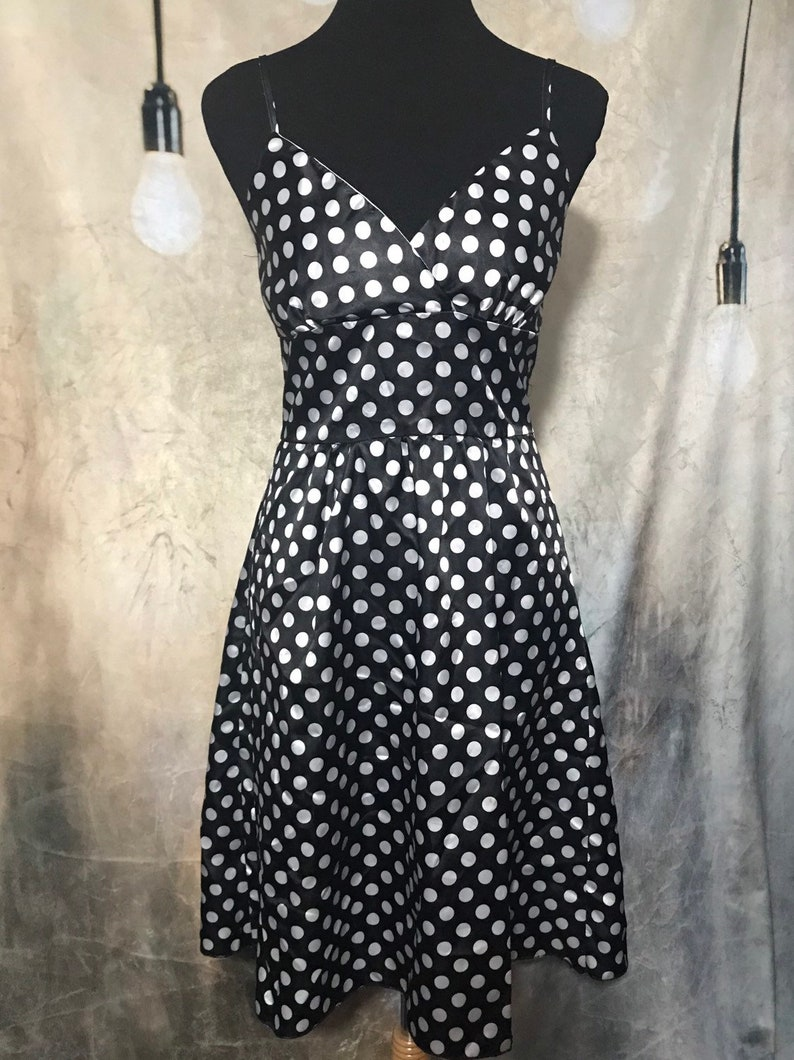 Vintage Polka Dot Dress Black and White Polka
