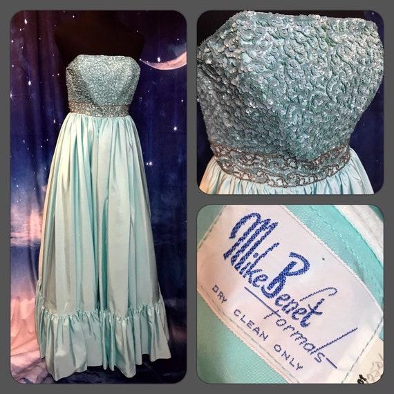 1960s dress, formal dress, mike benet formal, 60s