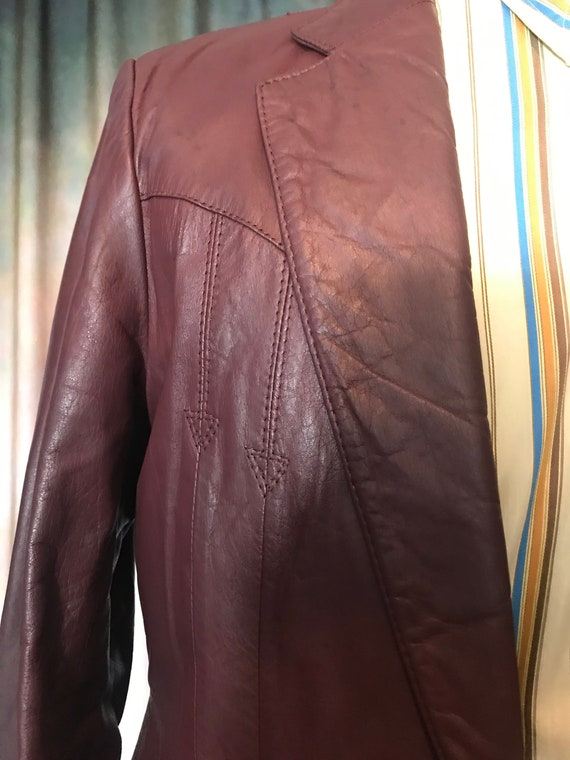 Mens Vintage Brown Leather Jacket, Size 40 Mens L… - image 5