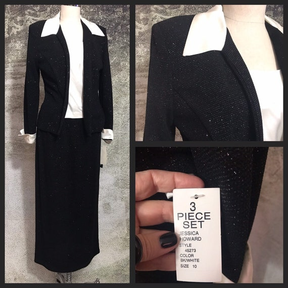 Vintage Three Piece Skirt Set, Black Three Piece S