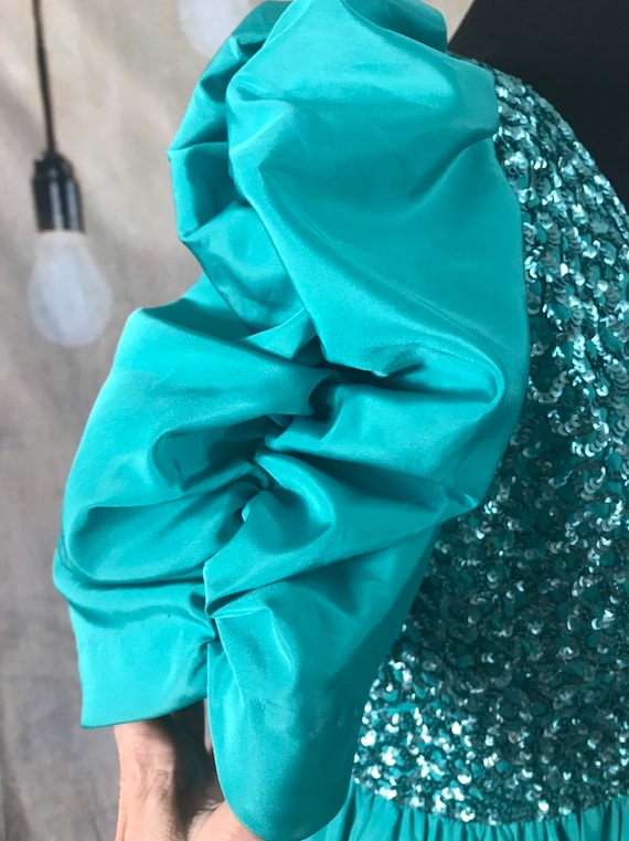 Vintage Gown, Turquoise Gown, 1960s formal dress,… - image 7