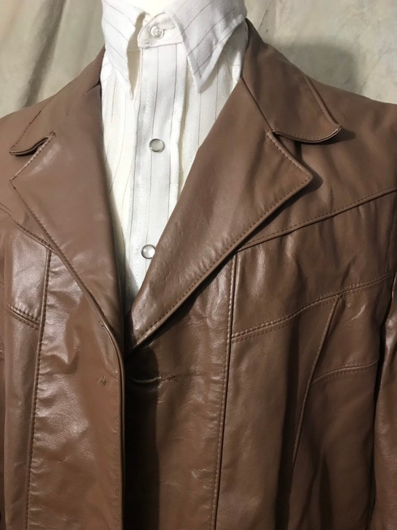 Mens Brown Leather Jacket, Size XL Leather Jacket