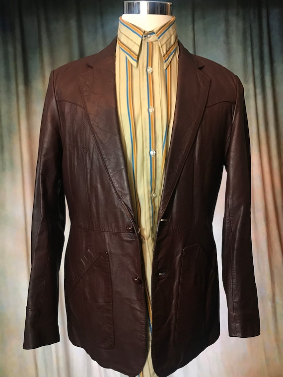 Mens Vintage Brown Leather Jacket, Size 40 Mens L… - image 2