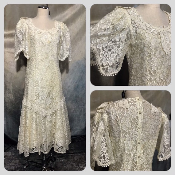 Vintage Wedding Dress, Vintage Lace Wedding Dress,