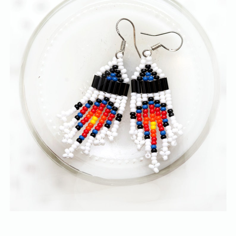snow fall  small seed bead earrings  white blue black image 0