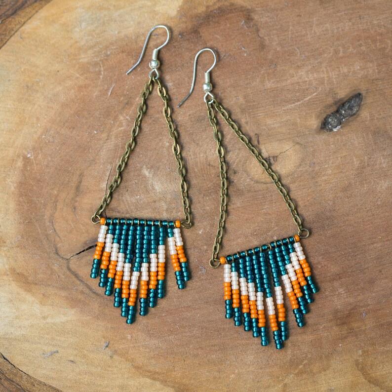NEW Handmade Chevron Seed Bead Earrings  Metallic Turquoise image 0