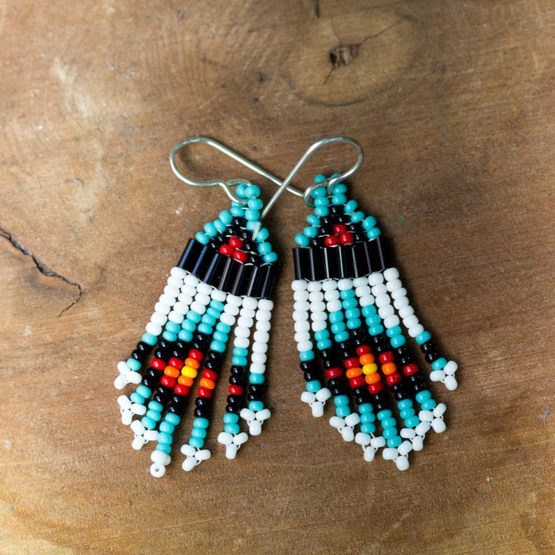 NEW Small Seed Bead Earrings  Turquoise image 0