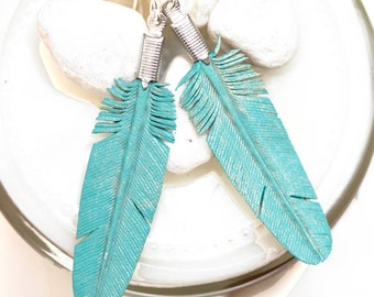 smal turquoise leather feather earrings