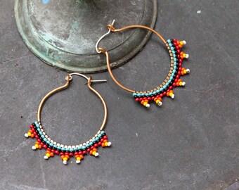 SALE   beaded bronze hoop earrings