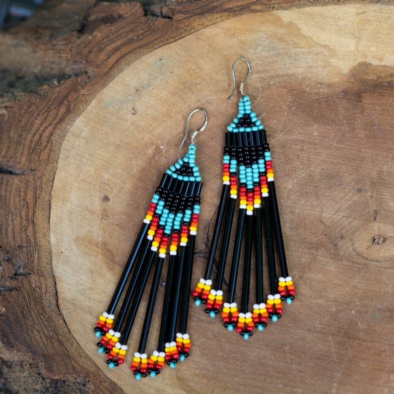 NEW Seed Bead Earrings  Black blue red yellow white image 0