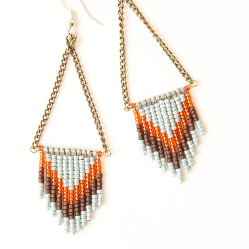 Chevron Seed Bead Earrings  Sky Blue Orange and Brown image 0