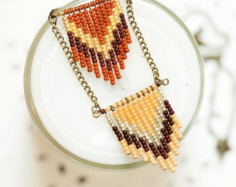 terracotta, rust and brown -  seed bead chevron necklace