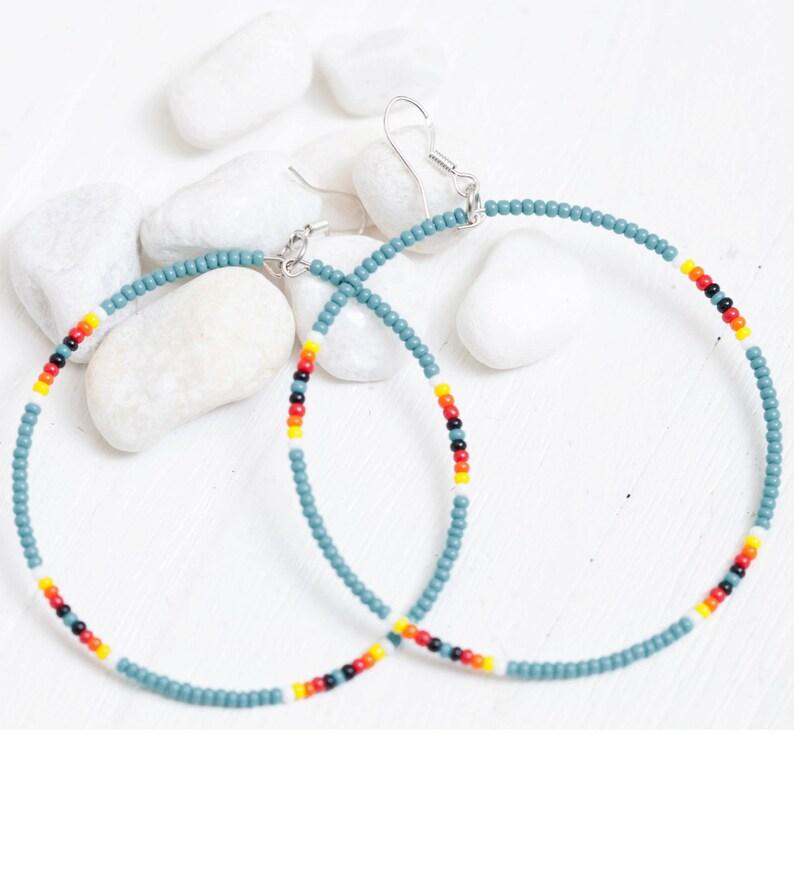 Seed Bead Hoop Earrings  Turquoise image 0