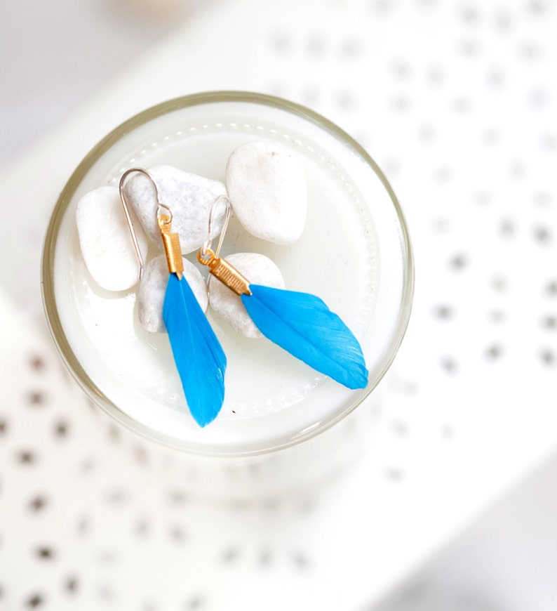 Small Feather Earrings  Bright Blue image 0