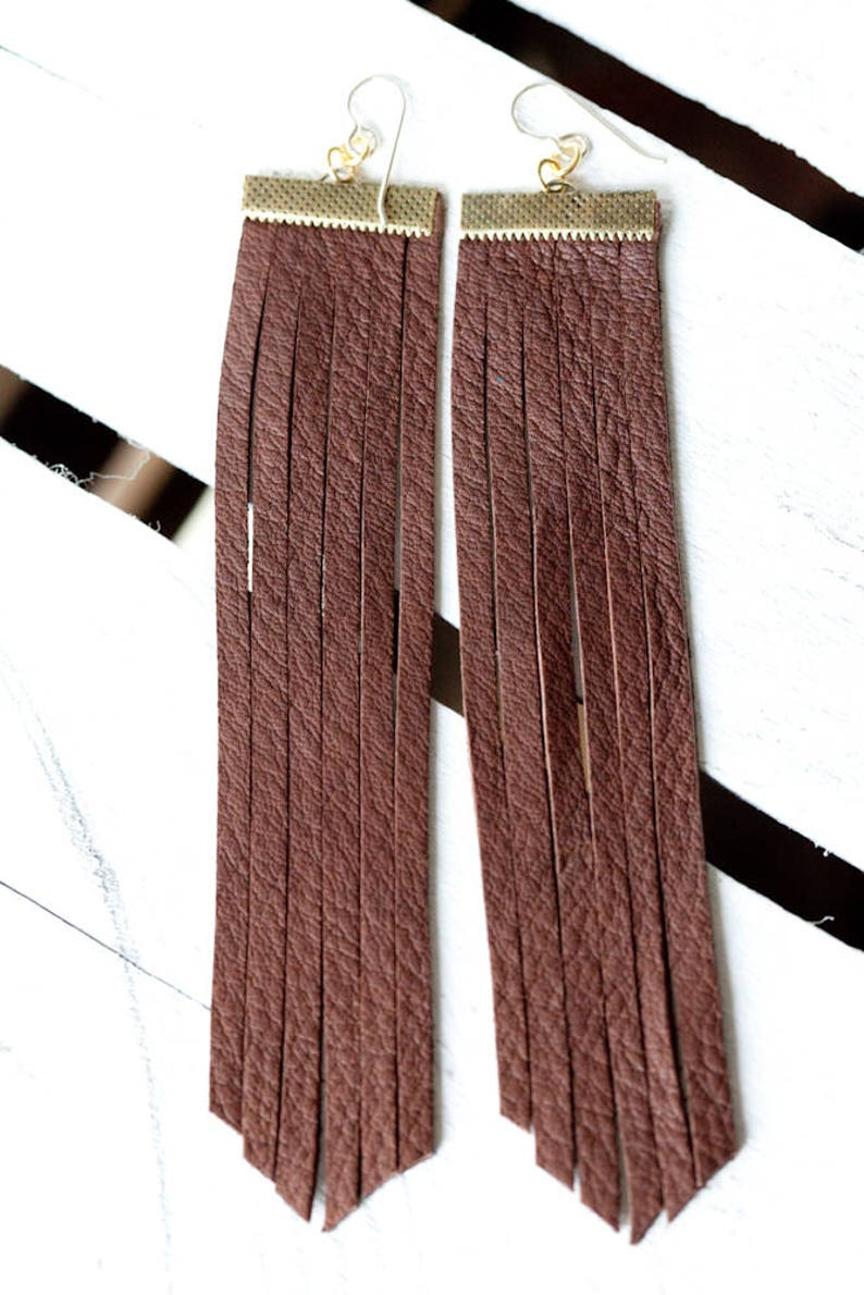 Extra Long Leather Fringe Earrings  Brown image 0