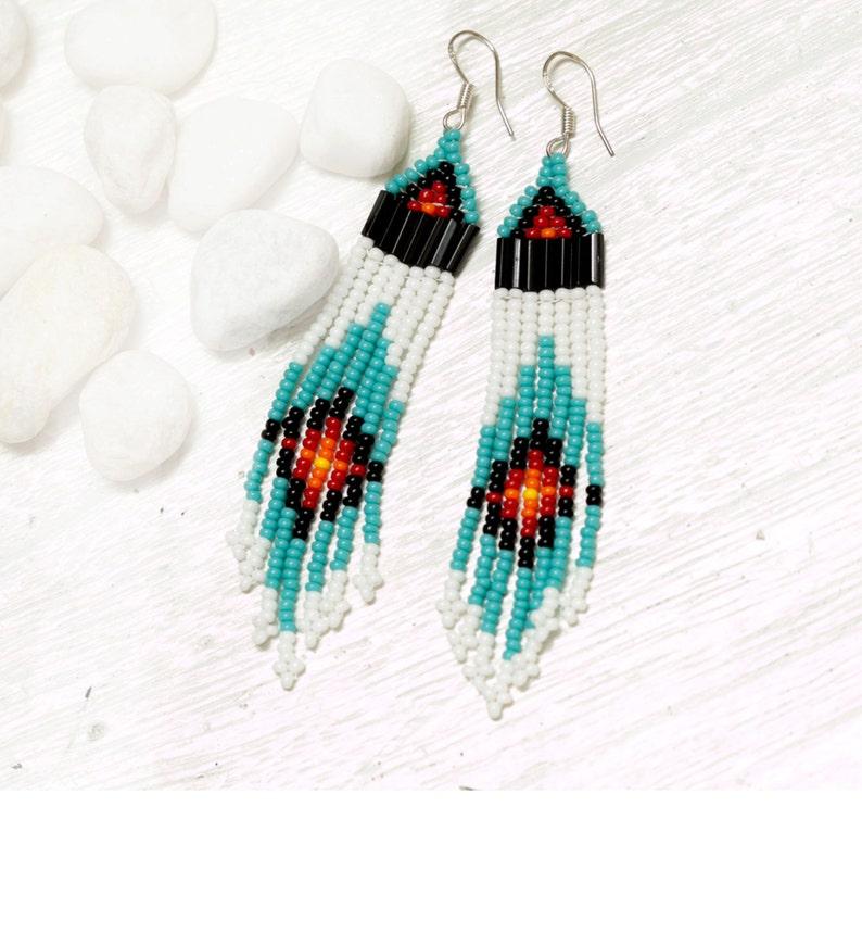 seed bead earrings  turquoise white black red orange image 0