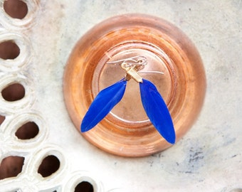small colbalt blue feather earrings