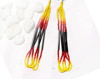 SALE  seed bead earrings - yellow, orange red and black - fire