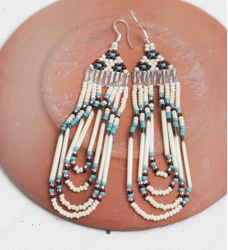porcupine quill and seed bead earrings  turquoise rust and image 0