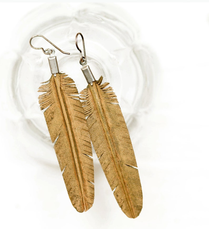 Large Leather Feather Earrings  Olive image 0