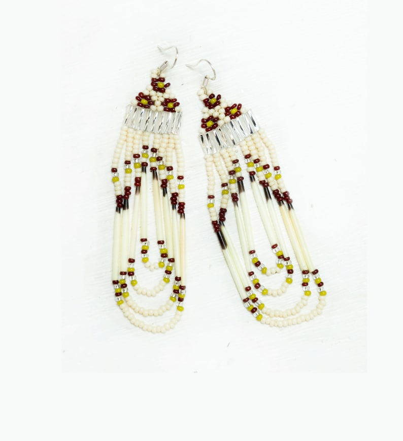 Porcupine Quill and Seed Bead Loop Earrings  Olive Green image 0