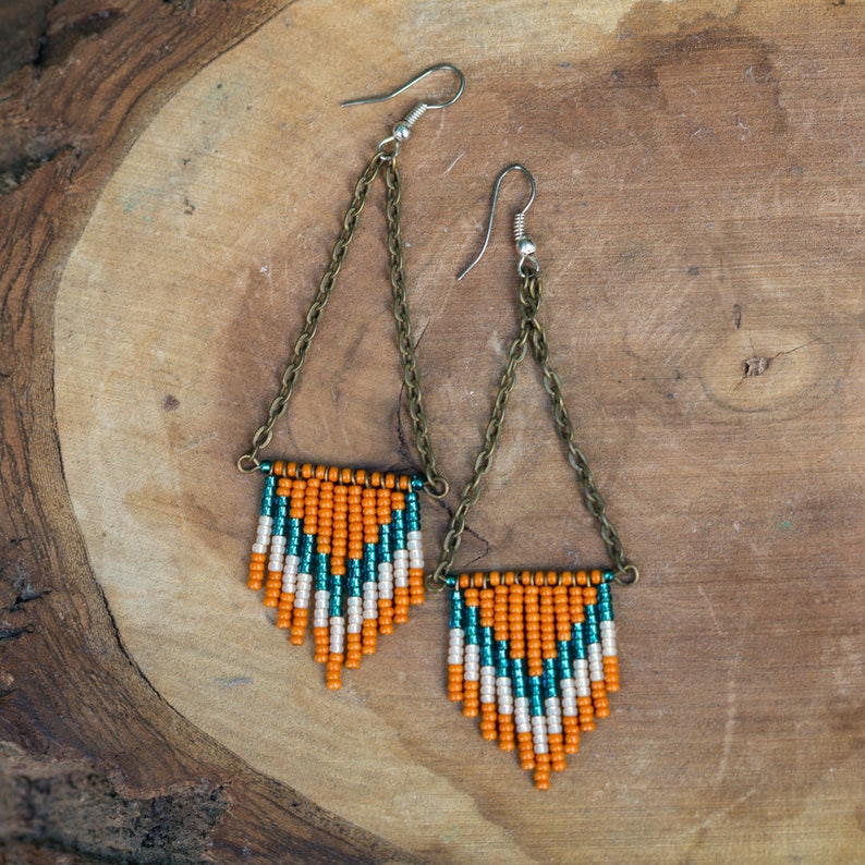NEW Handmade Chevron Seed Bead Earrings  Orange and Metallic image 0