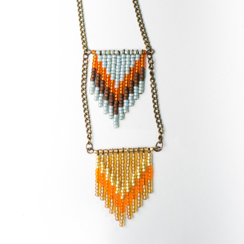 NEW Handmade Chevron Seed Bead Necklace  Sky Blue and Orange image 0