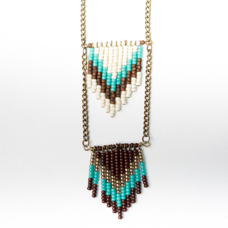 NEW Handmade Chevron Seed Bead Necklace  Turquoise and Cream image 0