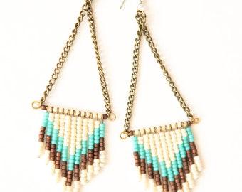 SALE  - Chevron seed bead earrings - cream, turquoise, earth