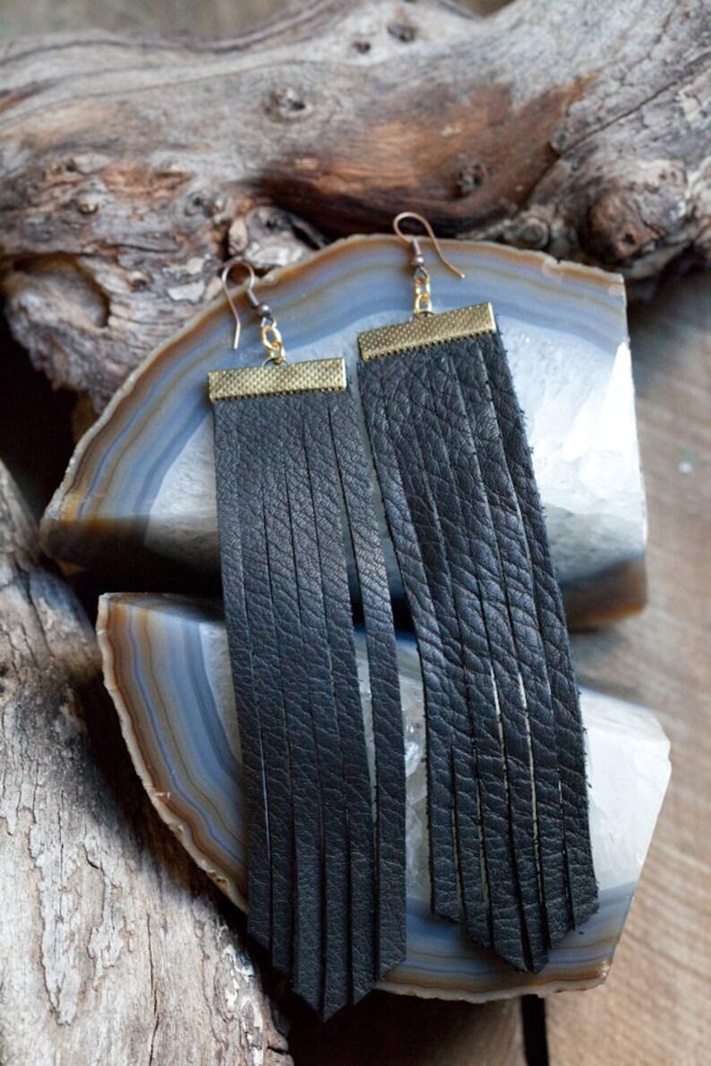 Extra Long Leather Fringe Earrings  Black image 0