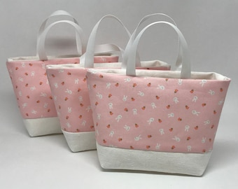 Tiny Bunny Faces on Pink Treat Bags