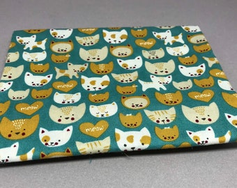 """Fat Quarter (18""""x 22"""") Cats on Teal by Stacy Iest Hsu from Woof Woof Meow for Moda #20565-16"""