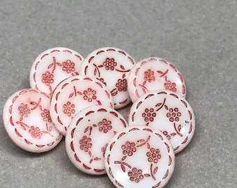 Set of 8 Round White with Red Flowers Plastic Shank Buttons 15mm