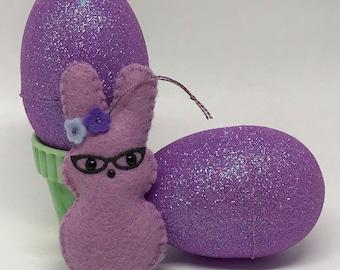 Purple Felt Marshmallow Peep Ornament with Cat Eye Glasses