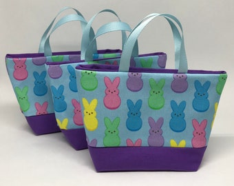 Marshmallow Peeps on Light Blue with Purple or Yellow Accent Treat Bags