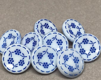 Set of 9 Round White with Blue Flowers Plastic Shank Buttons 15mm