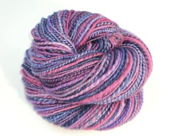 Violets, Hand Spun, Handspun, Yarn, Superwash, Merino, Wool, Violet, Purple, Pink, Blue, DK