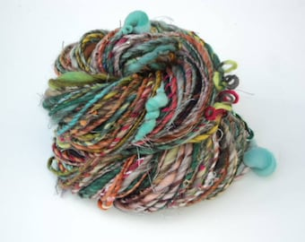 Antiques, Hand Spun, Handspun, Art, Yarn, Art Yarn, Bulky, Wool, Multicolor, Ribbon, Yarn, Silk, Sparkle
