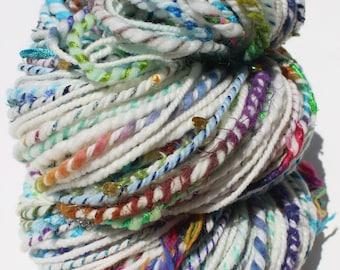 Rainy Day Unicorn, Art, Yarn, Hand Spun, Natural, White, Sparkle, Rainbow, Sequins, 132 Yards