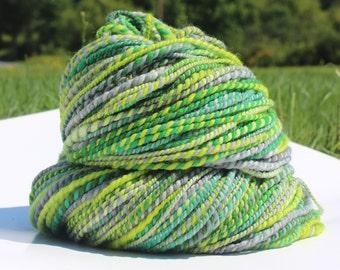 Grass, Hand Spun, Handspun, Yarn, Bulky, Green, Grey, Gray, Superwash, Merino
