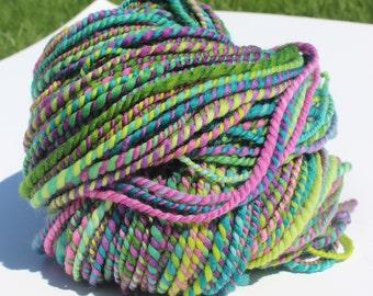 Grape Vine, Hand Spun, Handspun, Yarn, Bulky, Green, Purple, Superwash, Merino, 138 Yards