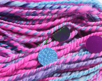 Baby Unicorns, Art, Yarn, Hand Spun, Pink, Purple, Blue, Sparkle, Sequins, 152 Yards