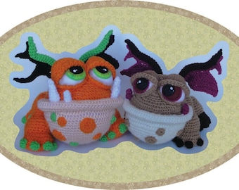 Baby Dragon or Frog Crochet Pattern in PDF Digital format by Peggytoes