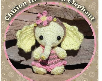 Chiffon the Little Lemon Elephant Digital PDF Crochet Pattern Stuffed Doll with Romper & Headband