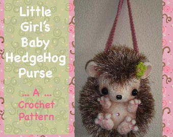 Little Girl's Baby Hedgehog Purse Bag Tote PDF Digital CROCHET PATTERN by Peggytoes