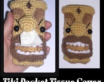 Hawaiin Tiki Pocket Tissue Kleenex Cover Holder Digital PDF Crochet Pattern by Peggytoes