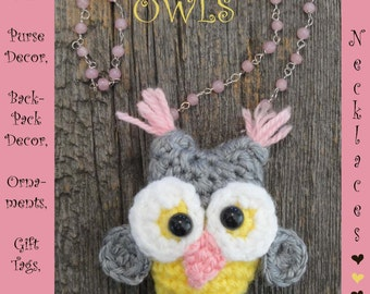 Digital PDF Owl Crochet Pattern for Jewelry Hair Decor Baby Mobils Carseat & Gym Toys Etc